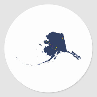Alaska in Blue and Gold Round Sticker