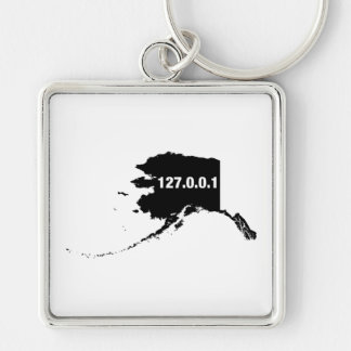 Alaska Is Home Programmer Silver-Colored Square Keychain