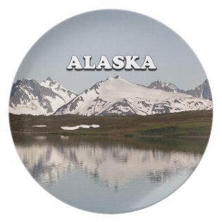 Alaska: Lake reflections of mountains Dinner Plates