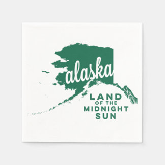 alaska | land of the midnight sun  | green disposable napkin