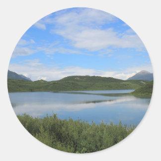 Alaska landscape classic round sticker