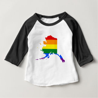 Alaska LGBT Flag Map Baby T-Shirt