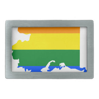 Alaska LGBT Flag Map Rectangular Belt Buckle