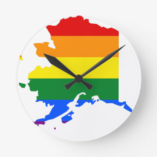 Alaska LGBT Flag Map Round Clock