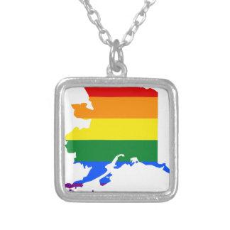 Alaska LGBT Flag Map Silver Plated Necklace