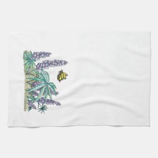 Alaska Lupine Watercolor Kitchen Towel