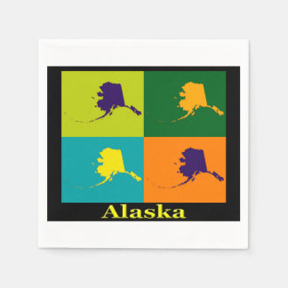 Alaska Map Silhouette Pop Art Paper Napkins
