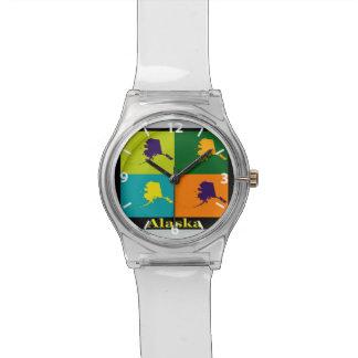 Alaska Map Silhouette Pop Art Wrist Watch
