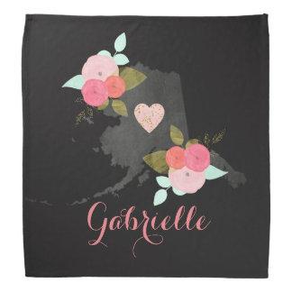 Alaska Monogram State Watercolor Floral & Heart Head Kerchiefs