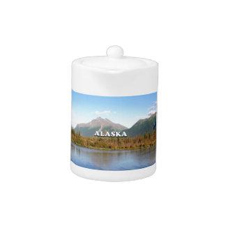 Alaska: mountains, forest and river, USA