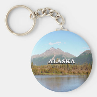 Alaska: mountains, forest and river, USA Keychain