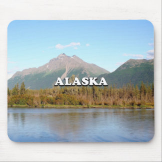 Alaska: mountains, forest and river, USA Mouse Pad