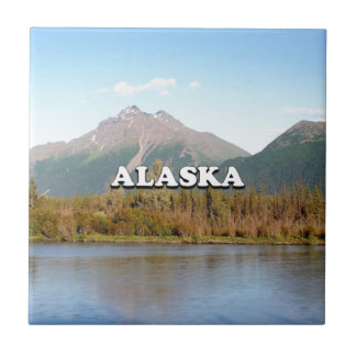 Alaska: mountains, forest and river, USA Tile