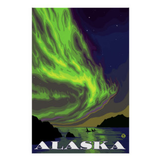 Alaska - Northern Lights and Orcas Poster