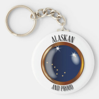 Alaska Proud Flag Button Basic Round Button Keychain