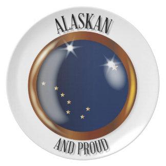 Alaska Proud Flag Button Dinner Plate