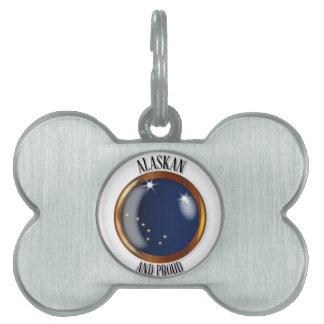 Alaska Proud Flag Button Pet Name Tags