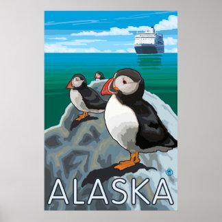 Alaska - Puffins watching a Cruise Ship Poster