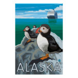 Alaska - Puffins watching a Cruise Ship Posters