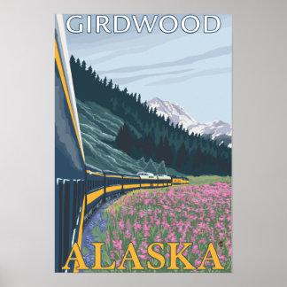 Alaska Railroad Scene - Girdwood, Alaska Poster