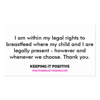 Alaska Right to Breastfeed Cards Business Card