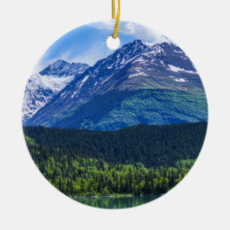 Alaska Scenic Byway Mountain Round Ceramic Ornament