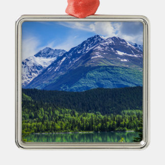 Alaska Scenic Byway Mountain Silver-Colored Square Ornament