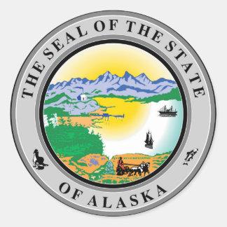 Alaska seal united states america flag symbol repu round sticker