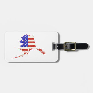 Alaska State American Flag Bag Tag