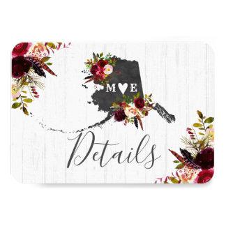Alaska State Destination Rustic Wedding Details Card