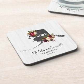 Alaska State Destination Rustic Wedding Monogram Coaster