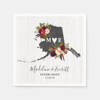 Alaska State Destination Rustic Wedding Monogram Paper Napkins