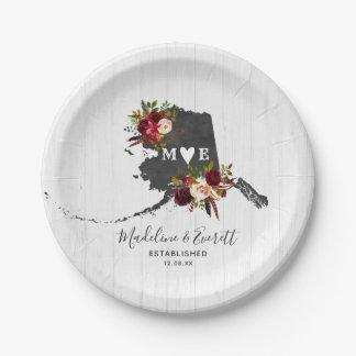 Alaska State Destination Rustic Wedding Monogram Paper Plate