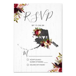 Alaska State Destination Rustic Wedding RSVP Card