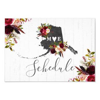 Alaska State Destination Rustic Wedding Schedule Card