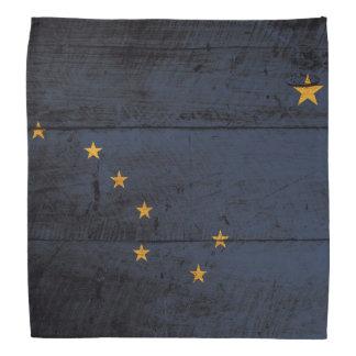 Alaska State Flag on Old Wood Grain Kerchief