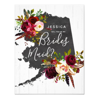 Alaska State Floral Will You Be My Bridesmaid Card