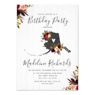 Alaska State Rustic Birthday Party Invitation