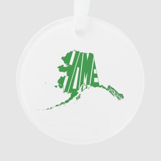 Alaska State Shape Home Word Art Green