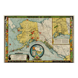 Alaska Steamship Company (1936) Map reproduction Poster