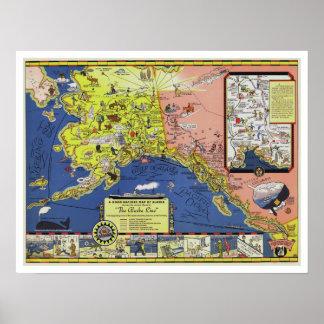 Alaska Steamship - Vintage Travel Map Poster