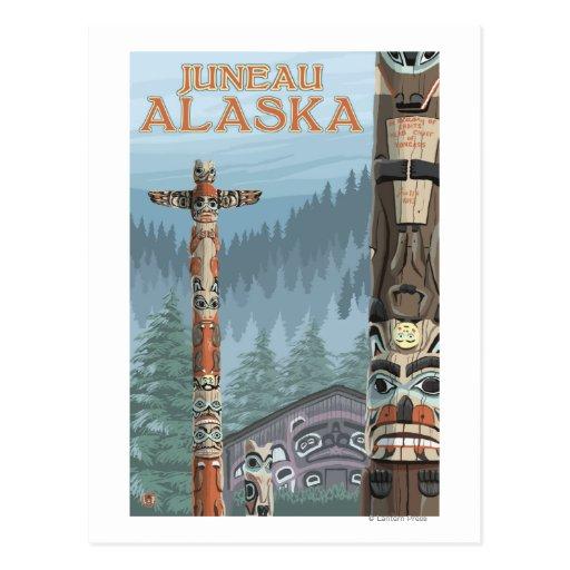Alaska Totem Poles - Juneau, Alaska Postcard