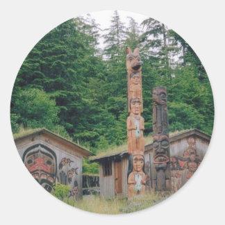 Alaska Totem Poles Round Sticker