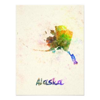 Alaska U.S. state in watercolor Art Photo