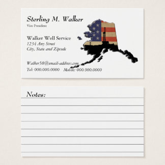 Alaska US Flag Oil Drilling Rig with Notes Business Card