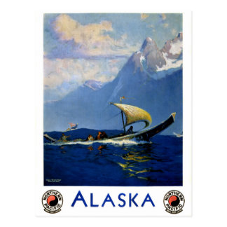 Alaska Vintage Travel Poster Restored Postcard