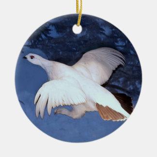 Alaska Willow Ptarmigan Round Ceramic Ornament