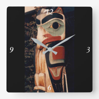 Alaska Wood Carved Southeast Totem Pole Fancy Square Wall Clock