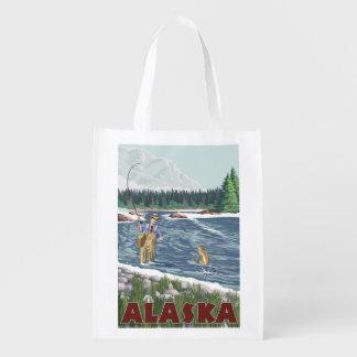 AlaskaFly Fisherman Vintage Travel Poster Reusable Grocery Bag