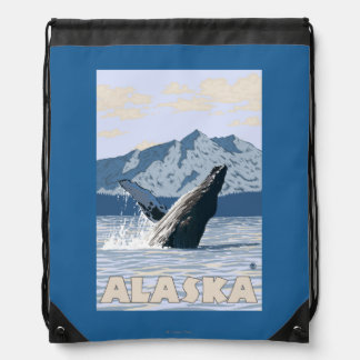 AlaskaHumpback Whale Vintage Travel Poster Backpacks